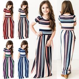 kids girls short sleeve striped dresses holiday