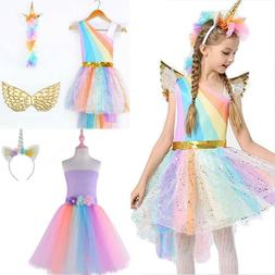Kids Girls Unicorn Costume Fancy Dress Cosplay Christmas Out