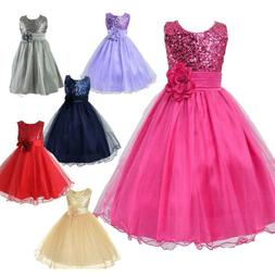 Kids Toddler Party Sequin Dress Flower Girls Wedding Bridesm