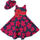 2 Pecs Girls Dress Sunhat Bow Tie Flower Summer Beach Kids C