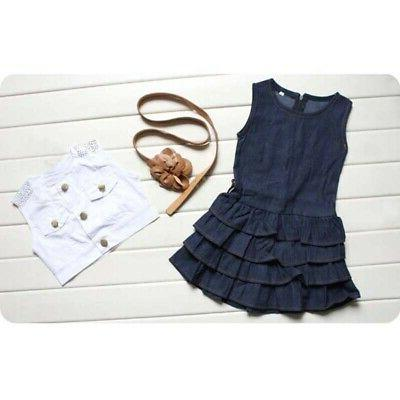 2Pcs Kids Sleeveless Vest Tops Skirt Dress Clothes