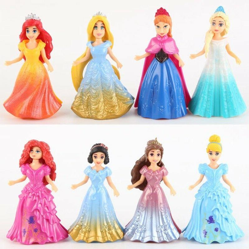 8pcs diy changed dress disney princess magiclip