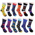 Gelante men's Funky Fashion Dress Socks Casual Cotton 12 Pai