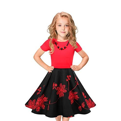LEEGEEL Girls Short Sleeves Round Neck Swing Rockabilly Dres