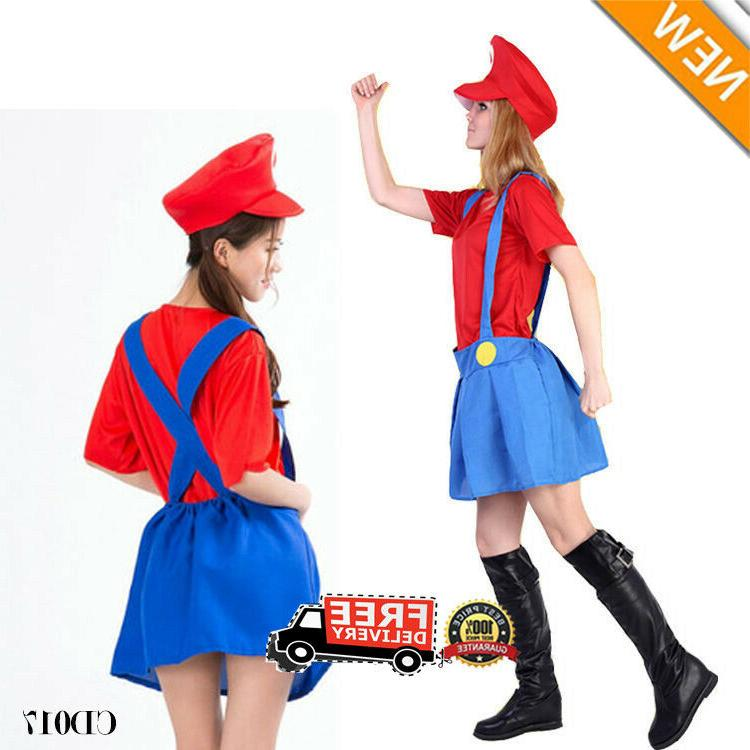 Adult Mens Kid Super Mario Luigi Dress set Cosplay Halloween Costume US