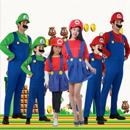 Adult Mens Mario & Dress set Cosplay Costume US