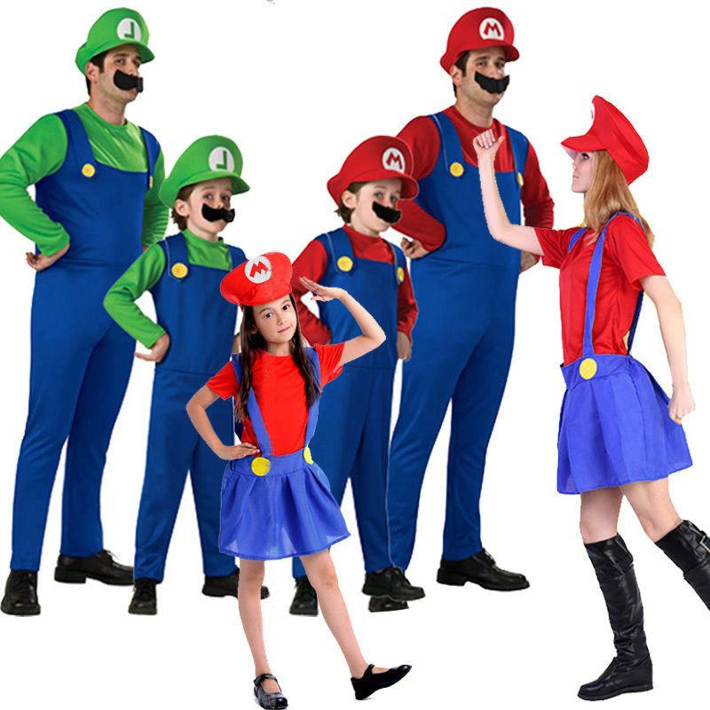 Adult Mens Kid Super Mario Dress Halloween Costume