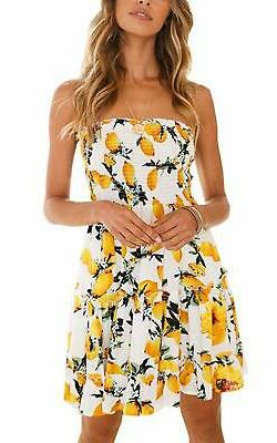 Angashion Women's Floral Strapless Pleated Flowy Skater Mini