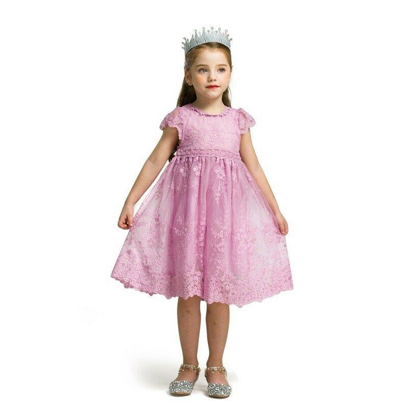 Baby Girl Lace Embroidery Princess Party Summer Size