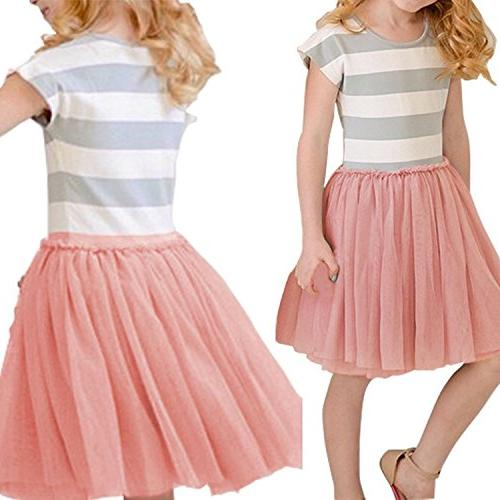 Baby Girls Dress Short Sleeves Tulle Skirts