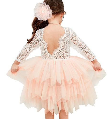 backless a line lace back flower girl
