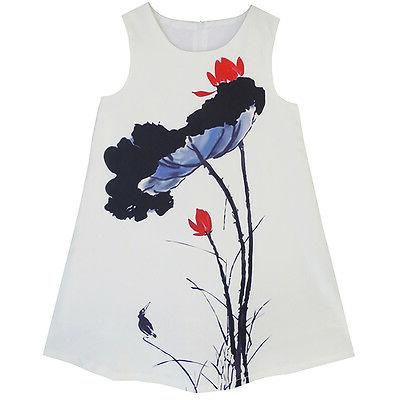 Big Girls Dress Lotus Ink-wash Painting Party Princess Dress