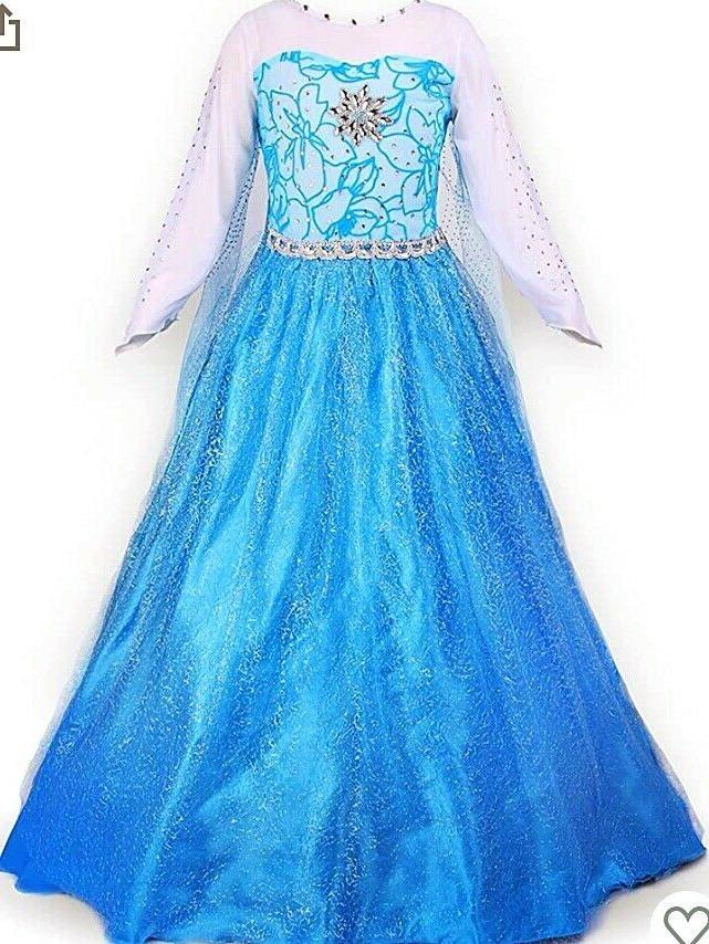 Elsa Girls Dress with Wand Braid and 3-9 T