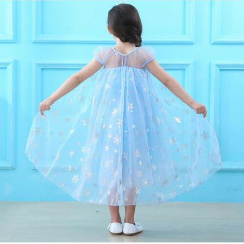Elsa Party Cosplay Outfit Girls Tulle Tutu Dress