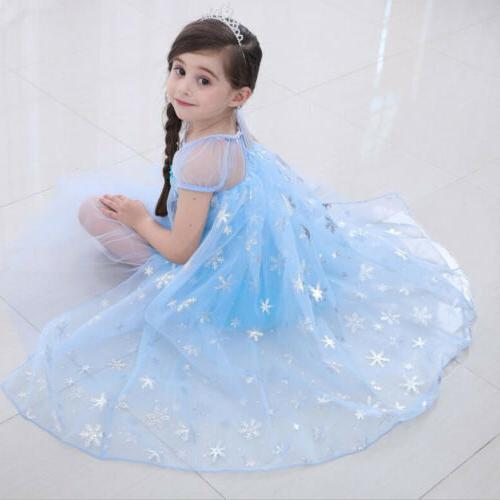 Elsa Princess Party Cosplay Outfit Girls Tulle Fancy Hot