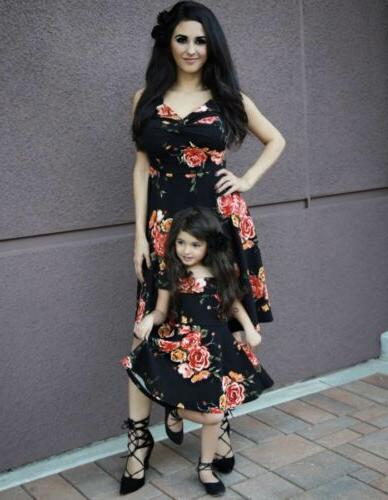 Fashion Women Mother Daughter Matching Dresses Dress