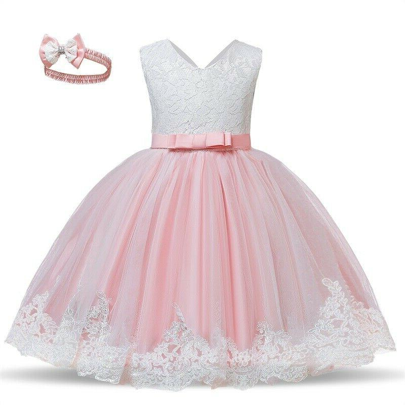 flower girl dress lace princess bow baby