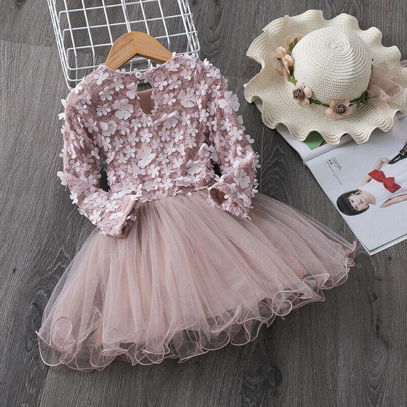 Flower Girl Dress Baby Party Pink Princess