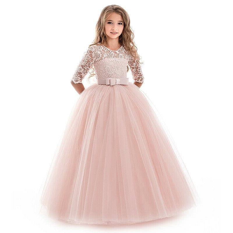 Flower Girls Dress Kids Party Long 14T