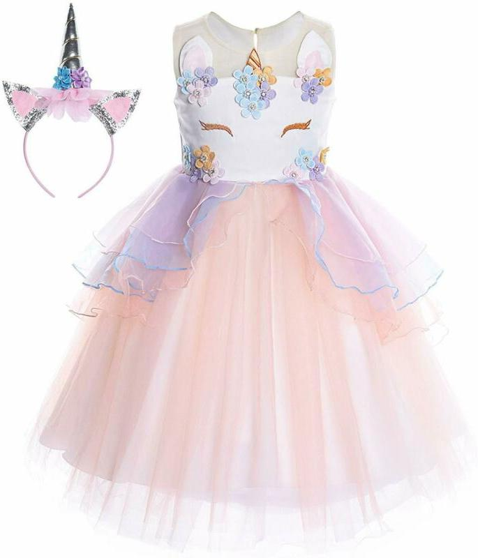 flower girls unicorn costume pageant princess party