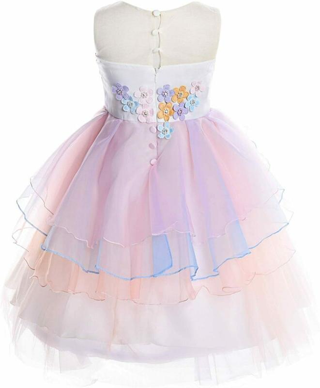 Jerrisapparel Flower Girls Unicorn Costume Pageant Princess Party Dress