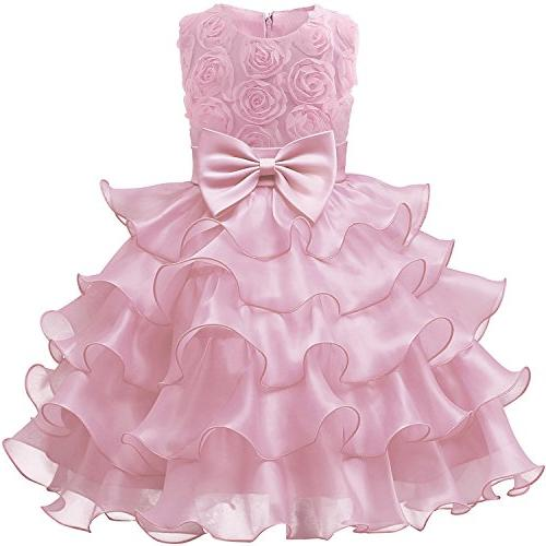 9d6536891fee NNJXD Girl Dress Kids Ruffles Lace Party Wedding Dresses Size 7-8 Years  Flower Pink
