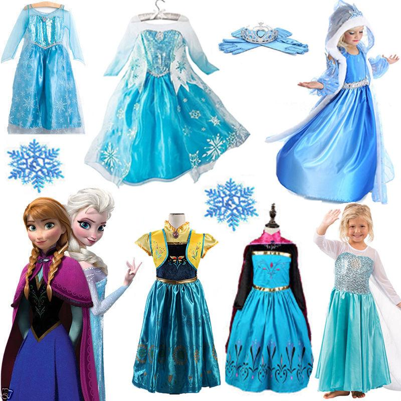 Toddler Kids Anna Elsa Fancy Dress Up Cosplay Costume