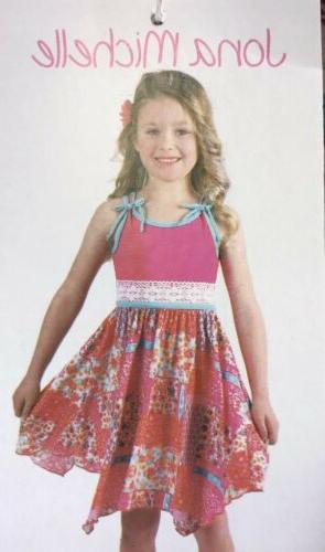 Jona Michelle Girls Dress - Pink W/ Turquoise - Size Varies