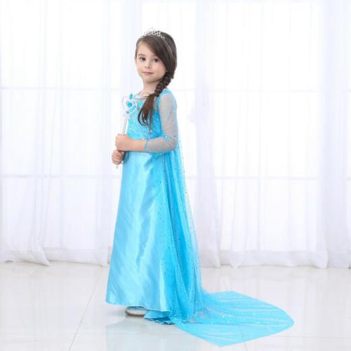 Kids Girls Elsa Princess Xmas Costumes Outfit