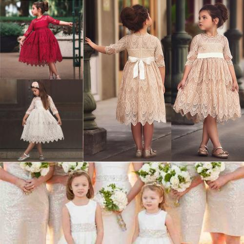 girls toddler kids lace flower princess party