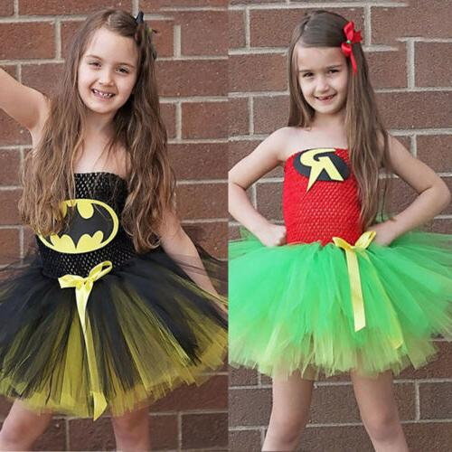 Girls Tulle Tutu Dress Superhero Unicorn Vampire Cosplay Cos