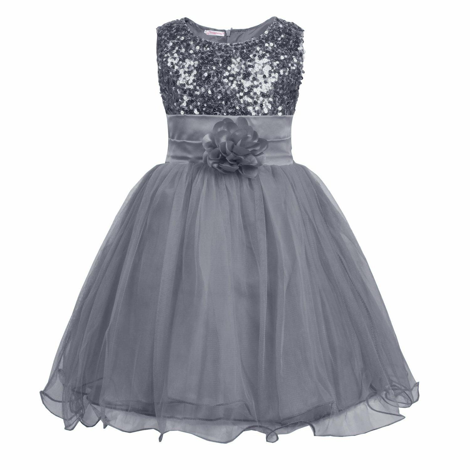 JerrisApparel Girls' Sequin Mesh Flower Party Tulle