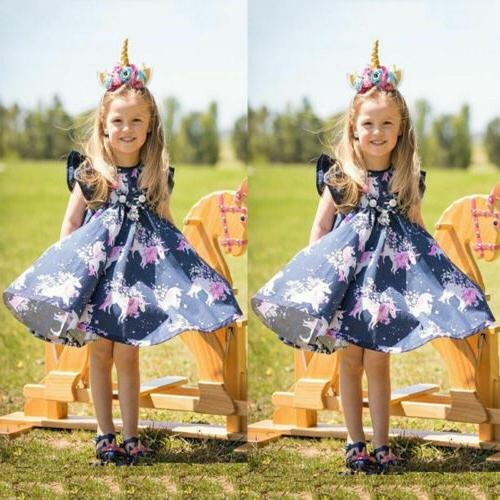 Kid Baby Unicorn Summer Floral Party Pageant Tutu Dress