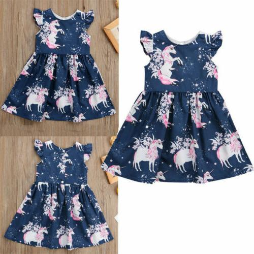 Kid Baby Unicorn Summer Pageant Dress Clothes