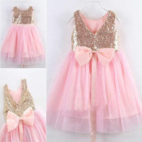 Kids Baby Flower Girls Princess Party Ball Pageant