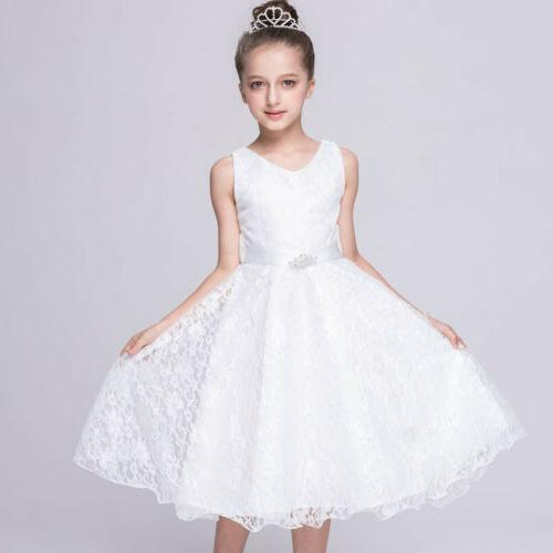 Kids Flower Princess Party Ball Gown Pageant