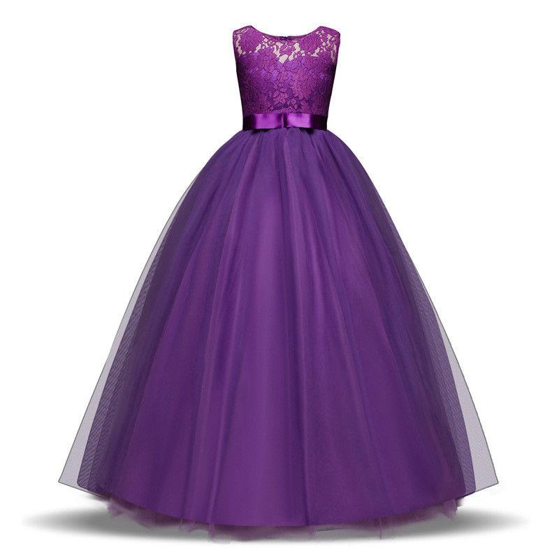 Kids Girls Flower Bridesmaid Maxi Long Party Prom .