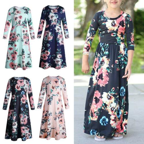 Kids Girls Boho Floral Maxi Holiday
