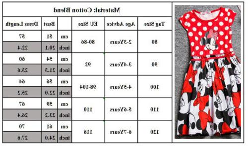 Kids Minnie Tutu Dress Cartoon Princess Party Summer Skirt