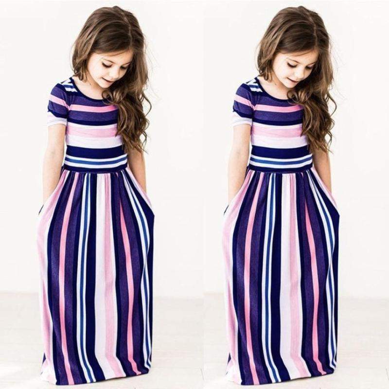 Kids Striped Holiday Party Long Dress US