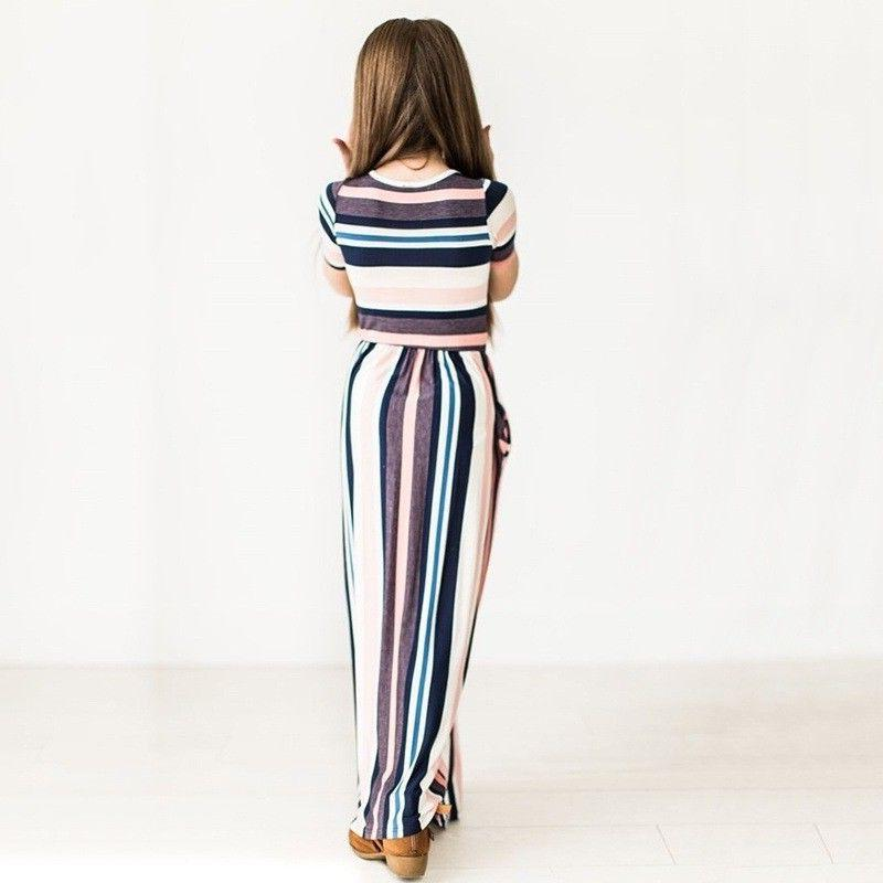 Kids Striped Dresses Party Long Maxi Dress US