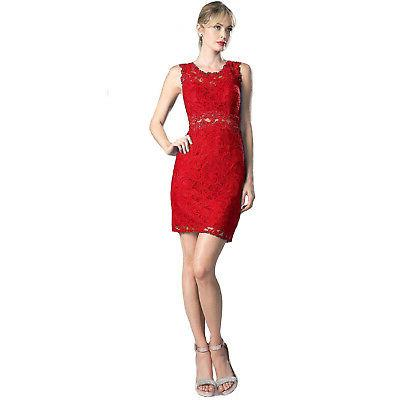 new mock two piece lace dress red
