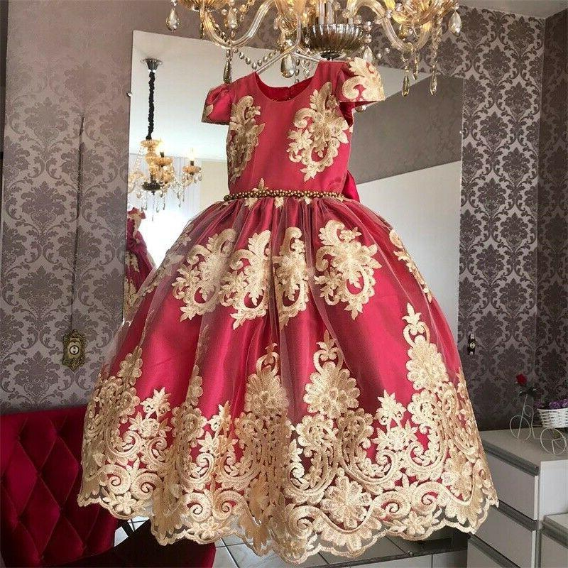 red kids girls dress birthday party princess