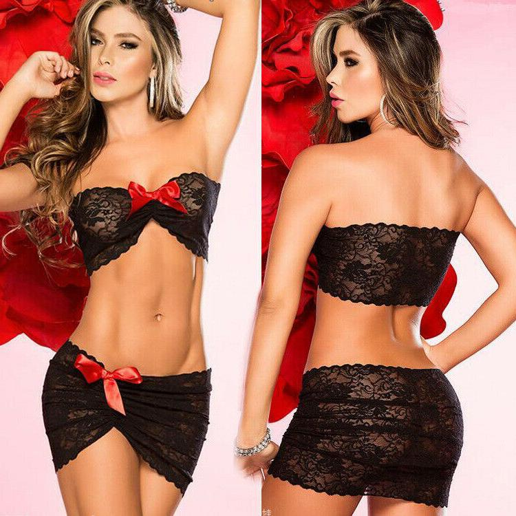 Sexy-Lingerie-Sleepwear-Two-Piece-Lace-Women's G-string-Dres