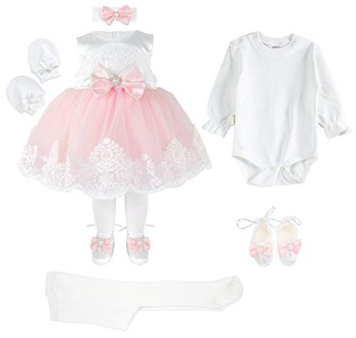 T.F. Baby Girl Newborn Pink Princess Pageant Dress Gown 6 6-9