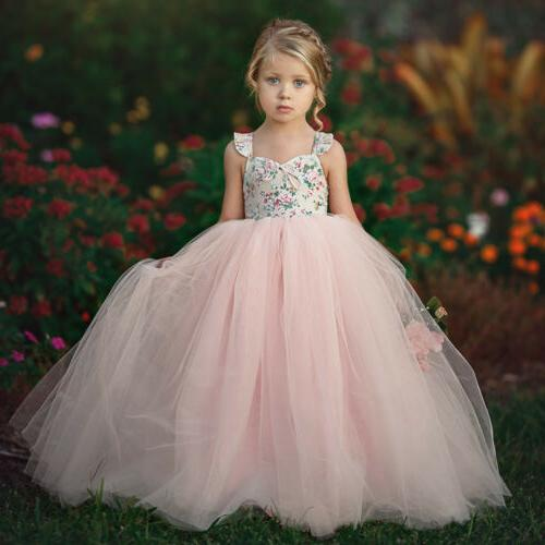Toddler Flower Princess Dress Baby Party Wedding Tulle Dress