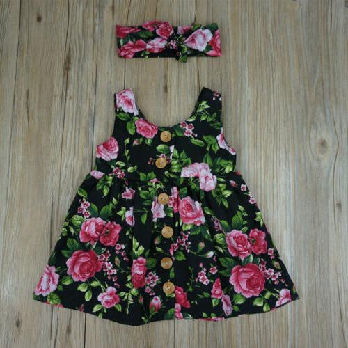 Toddler Kids Baby Girls Floral Summer Sleeveless Dress US
