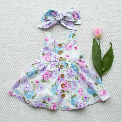 Toddler Kids Floral Dress Princess Party Summer