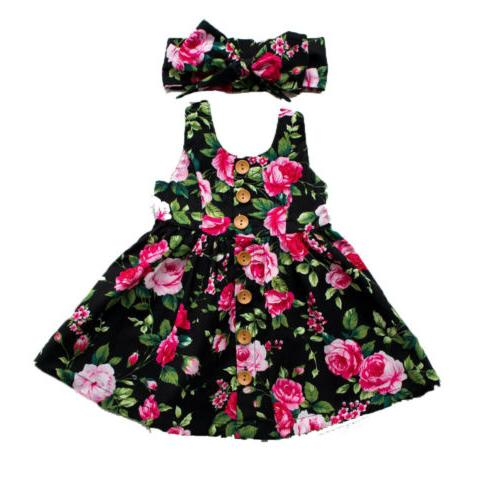 Toddler Kids Floral Dress Summer Sleeveless US
