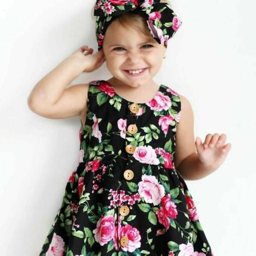 Toddler Kids Baby Girls Floral Dress Summer